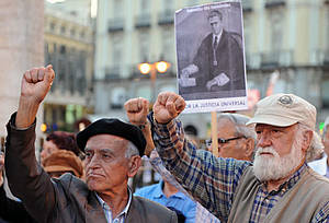 Demonstranten an der Puerta del Sol